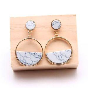 Gold Tone White Marble Geometric Circle Earrings